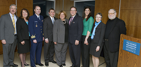 PHOTO by Dave Scavone: (left to right) Provost Steve Lerman, TSPPPA Director Kathy Newcomer, Commander Timothy Cronin, Rep. Michael Stinziano, Nancy Potok, Dale Didion, Christa Fornarotto, Dean Peg Barratt and President Emeritus Stephen Trachtenberg.