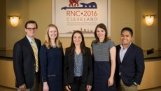 (L to R) GW alumni Zach Quinn, BA '13, Kasey Packer, BA '15, Audrey Scagnelli, BA '13, and Ninio Fetalvo, BA '14, and GW senior Gabriella Morrone, ESIA '17, have been in Cleveland preparing for the 2016 Republican National Convention.