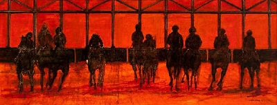 "Leaving the Gate, 2011, oil on canvas, 22"" x 56"". Image courtesy of Gerald Peters Gallery."
