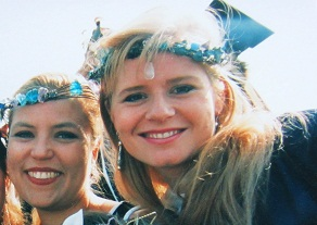 Bardot & Hilingala graduate on the Mall with crowns they created as a class