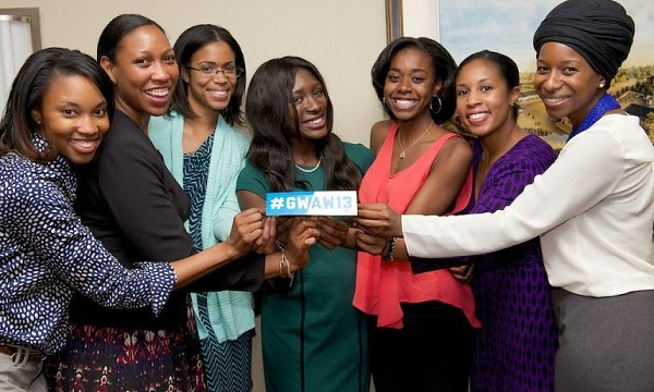Guests show their #GWAW13 pride at Thursday's Multicultural Alumni Reception