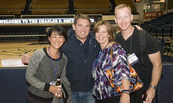 Alumni by the court at Saturday's All-Athletics Alumni Reception