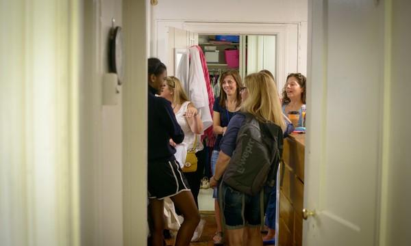 "Alumni visit dorm rooms during Saturday morning's popular ""Back to Thurston"" tour"