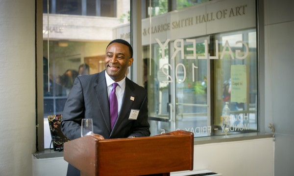 Dean Ben Vinson speaks during the Columbian College Alumni Reception