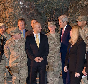 Jean-Marc Gorelick, ESIA MA '09 (center), meets Secretary of State John Kerry in Afghanistan.