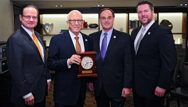 Left to right: ESIA Dean Michael Brown, GW Trustee Dr. David A. Nadler, GWAA President Steve Frenkil (CCAS BA '74) and GWAA Vice President for Awards James Quinlan at the Westin Times square on Jan. 28. (Photo: Ben Soloman)