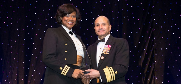 Lt. Cmdr. Zeita Merchant and award presenter Vice Admiral Manson Brown at the 2014 BEYA STEM Conference.
