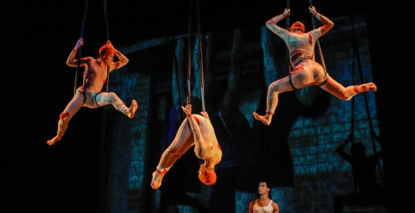 The original performance of RAW with Above and Beyond Dance company dancers at Manhattan Movement & Arts Center in 2011. Company dancers include Fernando Francisco, Tomomi Imai, Lisa Natoli and Chriselle Tidrick. (Photo: Julie Lemberger)
