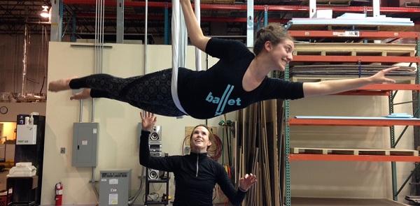 GW student Lauren Lamb works with alumna Chriselle Tidrick during a dance workshop at the Landover scene shop.  (Photo: Courtesty Chriselle Tidrick)