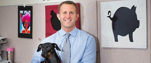 Paul Shapiro, CCAS BA '01, at the Humane Society of the United States, with Neil. (Photo: Jessica McConnell Burt)