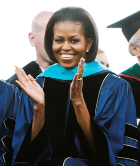 Michelle Obama at commencement in 2010.