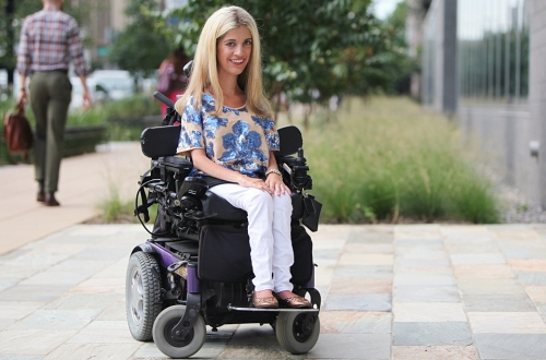 Alexa Dectis lives with Type II spinal muscular atrophy. She graduated from the Columbian College of Arts and Sciences in May and began law school in California this August. (photo credit: Rob Stewart/GW Today)