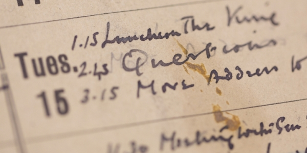 Winston Churchill's World War II engagement diary (1939-45) is the subject of a GW Libraries digital history project. (photo credit: William Atkins)