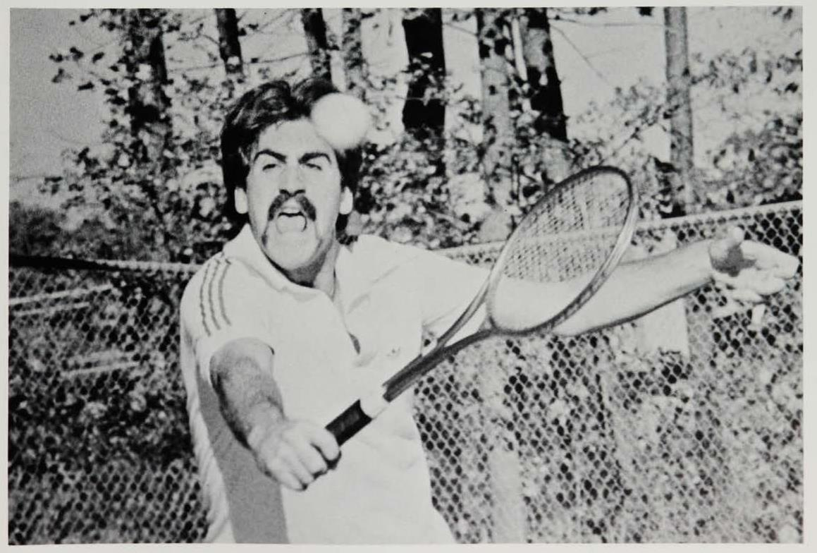 David Haggerty, BBA '79, in action as a senior on the GW Men's Tennis team.