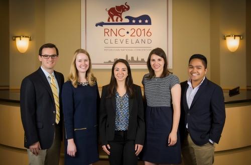 (L to R) GW alumni Zach Quinn, BA '13, Kasey Packer, BA '15, Audrey Scagnelli, BA '13, and Ninio Fetalvo, BA '14, and GW senior Gabriella Morrone, ESIA '17, have been in Cleveland preparing for the 2016 Republican National Convention.