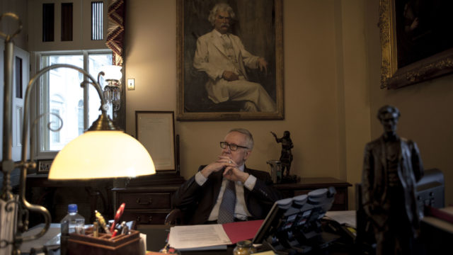 9/29/16, Capitol, Washington, D.C.  Senate Minority Leader Harry Reid (D-Nev.) in his office at the Capitol in Washington, D.C. on Sept. 29, 2016.  Photo by Gabriella Demczuk