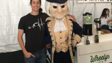 Cameron Waggener and mascot George Washington