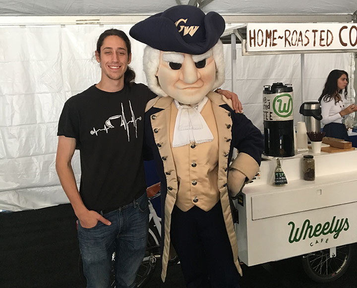 Cameron Waggener and mascot George Washington