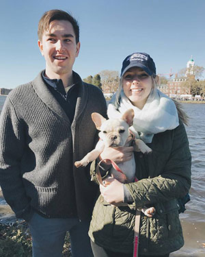 Margaret, Matthew, and their French Bulldog Evie